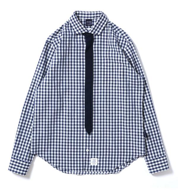 1610209ginghamchecknecktiegimmickshirt-01